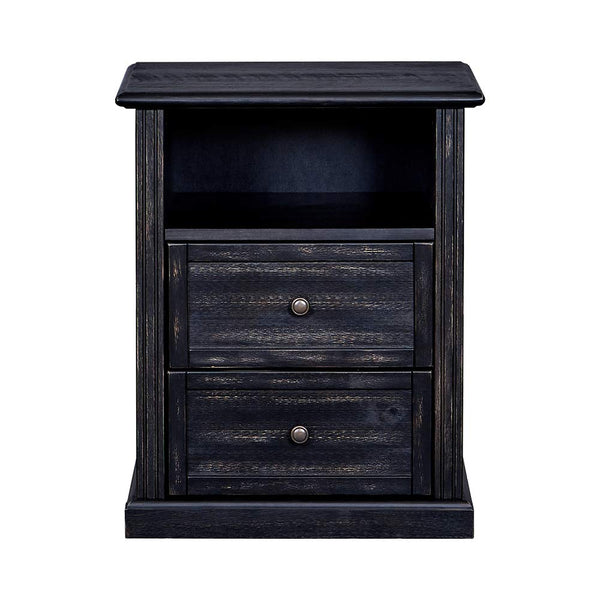 MUSEHOMEINC New York Rustic Wood Classic Style Nightstand/End Table with Two Drawer,Nightstand/End Table for Bedroom Open Cabinet Storage Home Furniture,Black Finish