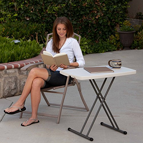 Lifetime 80251 Adjustable Folding Laptop Table TV Tray, 26 Inch, White Granite