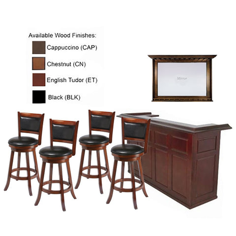 "RAM Gameroom 84"" Chestnut Home Bar 4 Match Bar Stools & Mirror"