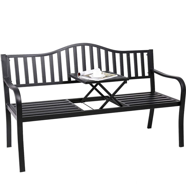 Outdoor Patio Chair with Middle Table, Superjare Graden Bench for 2 Person, Black