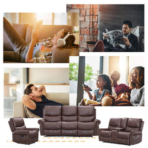 Recliner Sofa Living Room Set Reclining Couch Sofa Chair Leather Loveseat 3 Seater Home Theater Seating Manual Recliner Motion for Home Furniture