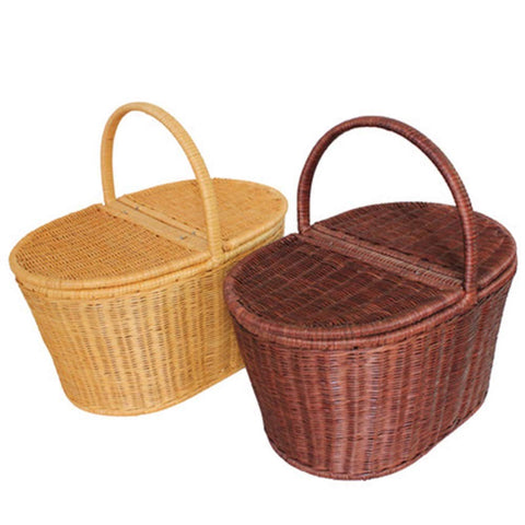 Kitchen Supplies Flip Food Storage Basket Bamboo Basket Shopping Basket Picnic Baskets with Lids Outdoor Creative Shopping Basket Tool Accessories (Color : Brown, Size : Small)