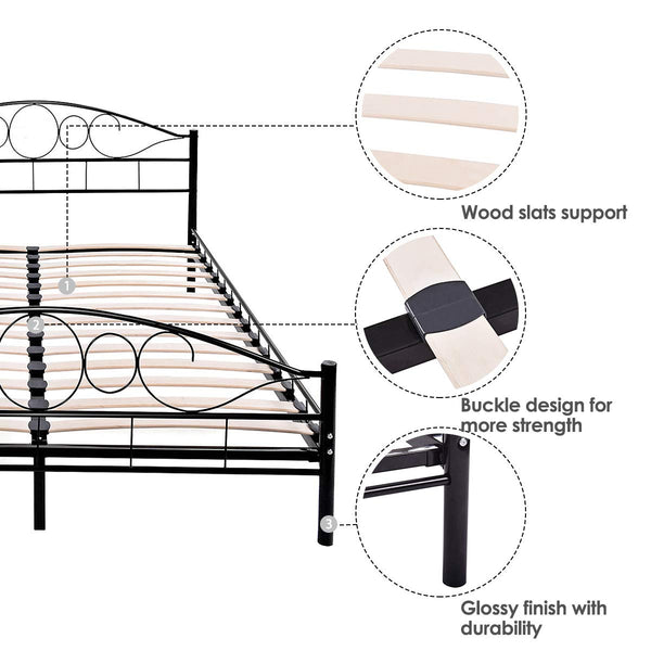 Giantex Metal Bed Frame Platform Mattress Foundation with Wood Slats Support Headboard Footboard Bedroom Furniture Queen Size(Black)