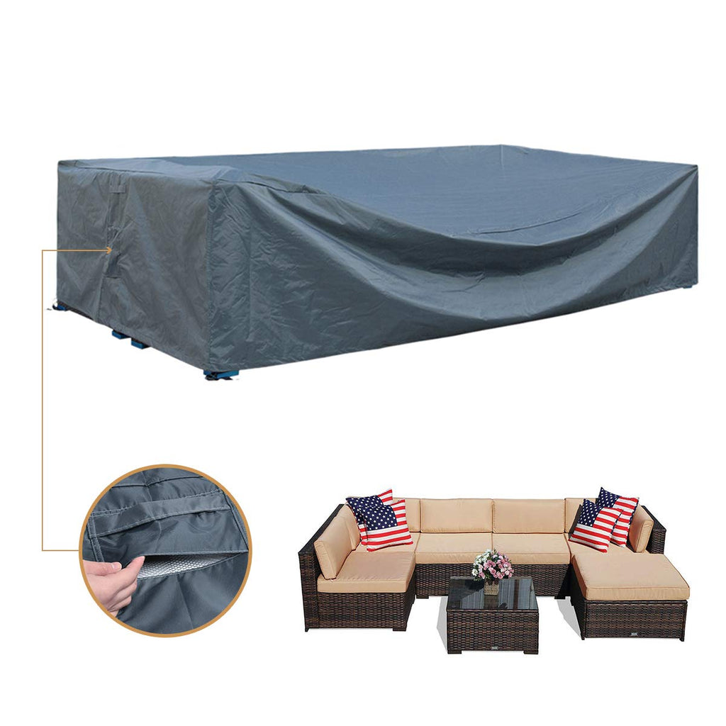 Powerdelux Patio Furniture Covers Outdoor Sectional Curved Couch Protector Heavy Duty Black Waterproof For Half Moon Sofa Sets Xs 25in Lx 20in Wx 20in H Patio Lawn Garden Sofa Covers