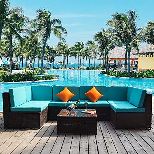 7 PCS Outdoor Rattan Wicker Furniture Set Garden Patio Sectional Sofa with Cushioned Seat and Glass Coffee Table for Poolside, Backyard, Deck or Patio (Green Cushion)
