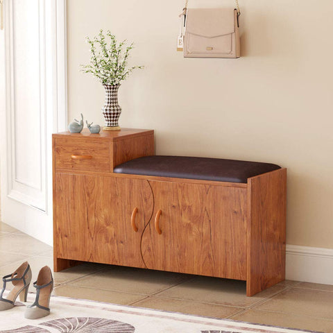 Tribesigns Shoe Bench with Drawer, Storage Bench with Removable Cushioned seat Shoe Rack Organizer for Entryway, Hallway and Living Room (Teak)