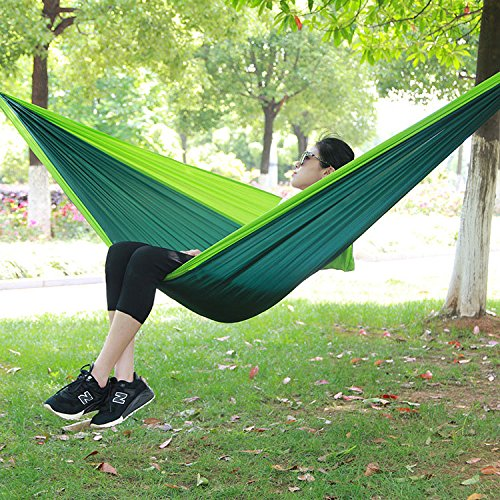 Nordmiex Double Portable Camping Hammock - Upgraded Carabiners Portable Hammock with Tree Straps Indoor & Backyard Hammock –Easy Setup Hammock - Holds 600 lbs!