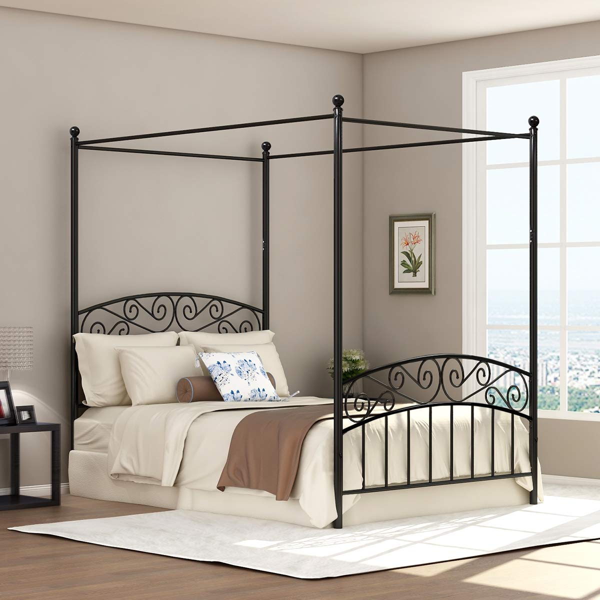 - DUMEE Queen Size Metal Canopy Bed Frame Platform Sweet Pink Style