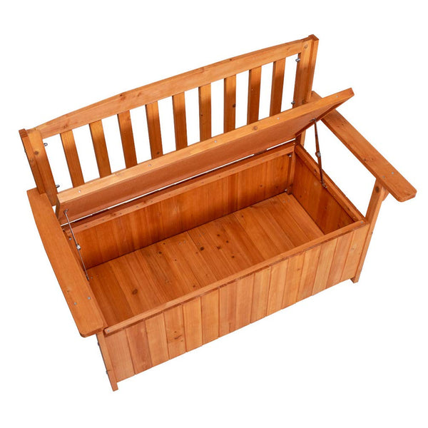 Good Life Outdoor Waterproof Garden Storage Bench Box with Chair Backrest – All Weather Patio Furniture Cabinet Made of Fir Wood
