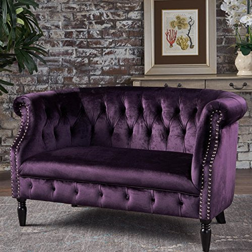 Great Deal Furniture 302212 Melaina BlackBerry Tufted Rolled Arm Velvet Chesterfield Loveseat Couch