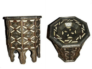 Moroccan Octagonal Accent Table Inlaid Camel Bone and Wood Carved Metal