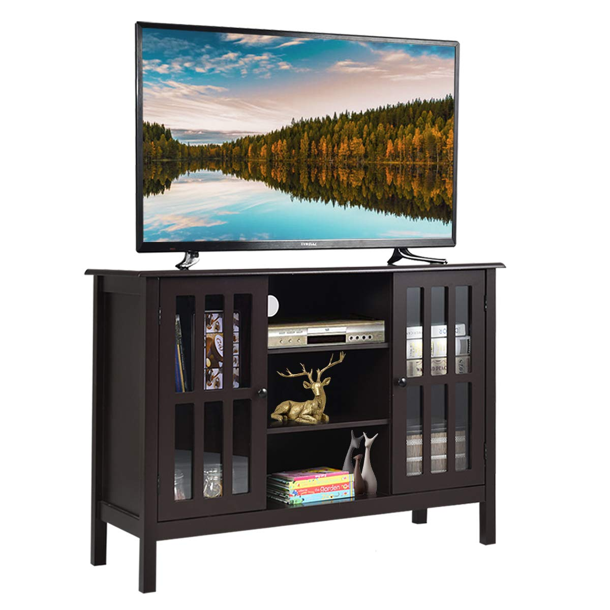 "Tangkula TV Stand, Classic Design Wood Storage Console Free Standing Cabinet for TV up to 45"", Media Entertainment Center Home Living Room Furniture, TV Stand Cabinet (Brown)"