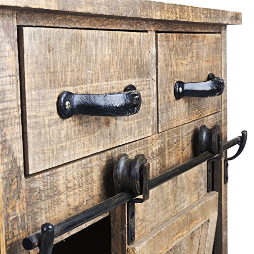 Paris Loft 32''H Rustic Sliding Barn Door Wood Cosole Cabinet Wood End Table, Farmhouse Accent Furniture Vintage Wood Storage Cabinet Country Side Table