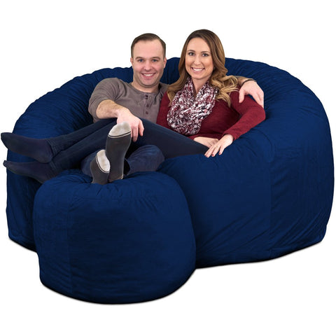 ULTIMATE SACK Bean Bag Chair w/Foot Stool in Multiple Sizes and Colors: Giant Foam-Filled Furniture - Machine Washable Covers, Double Stitched Seams, Durable Inner Liner. (Grey Suede, 5000)