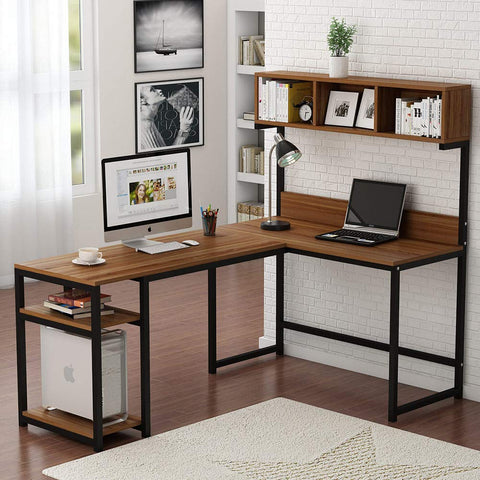"Tribesigns L-Shaped Desk with Hutch, 68"" Corner Computer Desk Gaming Table Workstation with Storage Bookshelf for Home Office (Dark Walnut)"