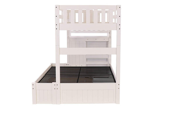 Discovery World Furniture Twin Over Full Stair Stepper Bed with Trundle in White Finish