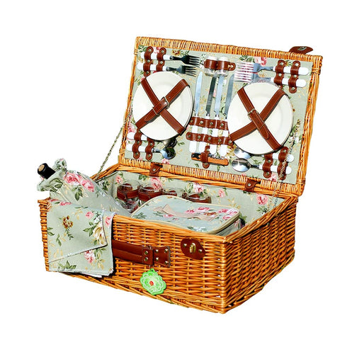 QWERTU Basket Picnic Basket Four People with Tableware Green Rattan Portable Garden Style Food Storage Box Outdoor