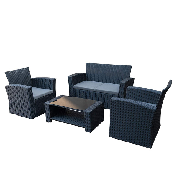 WO WESTIN OUTDOOR 4-Piece Outdoor Patio Furniture Set, All-Weather Durable Wicker Rattan Sectional Sofa Conversation Chair Set, Black