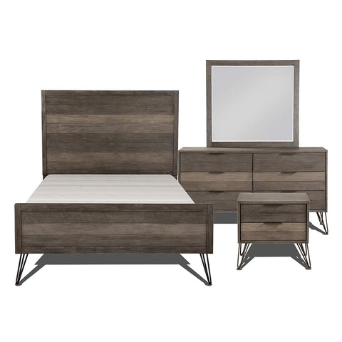 Lexicon 181604K-1CK Bedroom 4-Piece Set Cal King Gray