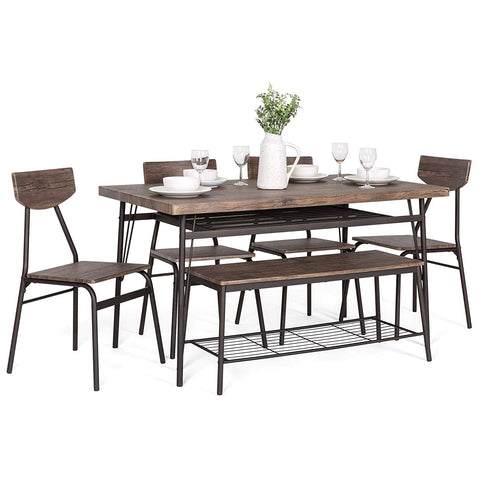 Best Choice Products 6-Piece 55in Wooden Modern Dining Set for Home, Kitchen, Dining Room with Storage Racks, Rectangular Table, Bench, 4 Chairs, Steel Frame, Brown