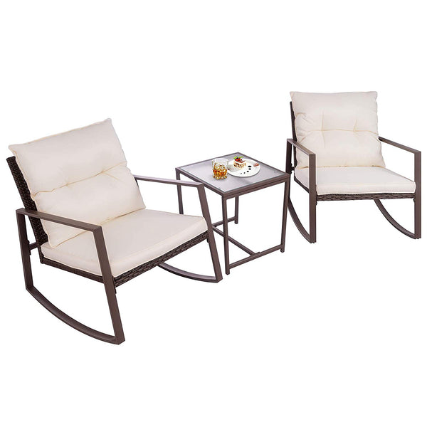 Walsunny 3 Pieces Patio Set Outdoor Wicker Patio Furniture Sets Modern Rocking Bistro Set Rattan Chair Conversation Sets with Coffee Table (Brown)