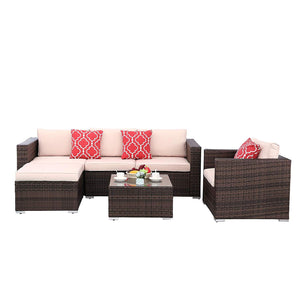 Polar Aurora 6pcs Outdoor Patio Sofa Set PE Rattan Black Wicker Sectional Furniture Outside Couch w/Brown Washable Seat Cushions & Modern Glass Coffee Table