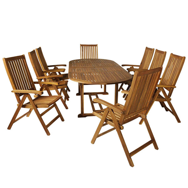 Outsunny Acacia Wood 9 Piece Extendable Oval Patio Dining Table Set