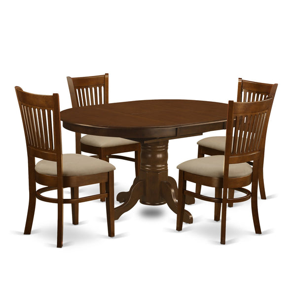 "East West Furniture KEVA5-ESP-C 5 Piece Set Kenley Kitchen Table with One 18"" Leaf and Four Upholstered Seat Chairs in Espresso"