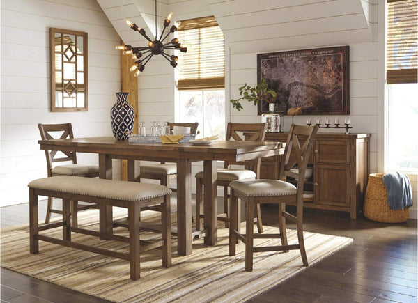 Ashley Furniture Signature Design - Moriville Counter Height Dining Room Table - Grayish Brown