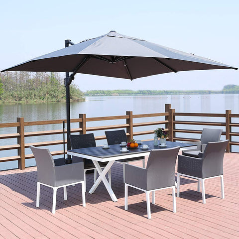 ROSE GARDEN Patio Cantilever Umbrella 10 Feet Outdoor Living Umbrella with Strong Sturdy Hand Push Round, 360° Rotated, 8 Metal Ribs, UV Resistant, Gray