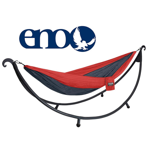 ENO - Eagles Nest Outfitters DoubleNest 2-Person Hammock with SoloPod Hammock Stand Bundle, Red/Charcoal