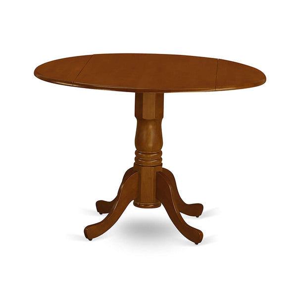 East West Furniture DLT-BLK-TP Round Table with Two 9-Inch Drop Leaves