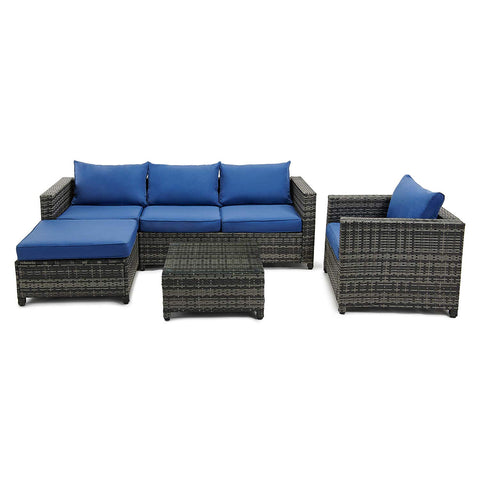 4 Pieces Outdoor Patio Furniture Set, Rattan Chair Wicker Conversation Sofa Set with Weather Resistant Cushions and Tempered Glass Tabletop - Gray