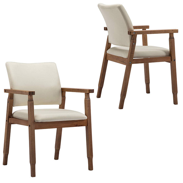 Set of 2 Mid Century Modern Dining Chairs Wood Arm Grey Fabric Kitchen Cafe Living Room Decor Furniture