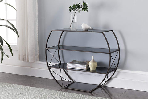 Kings Brand Furniture - Entryway Console Table with Storage Shelves, Pewter Metal, Black Glass