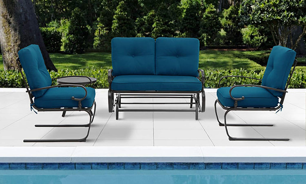 incbruce 4pcs outdoor patio furniture conversation sets loveseat bistro table 2 spring chair swing glider rocking patio bench and spring metal lounge chairs sets with peacock blue cushions