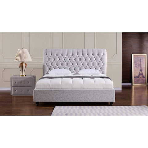 American Eagle Furniture B-D060-Q Sterling Collection Fabric Bedroom High Tufted Headboard Bed, Queen, Light Gray