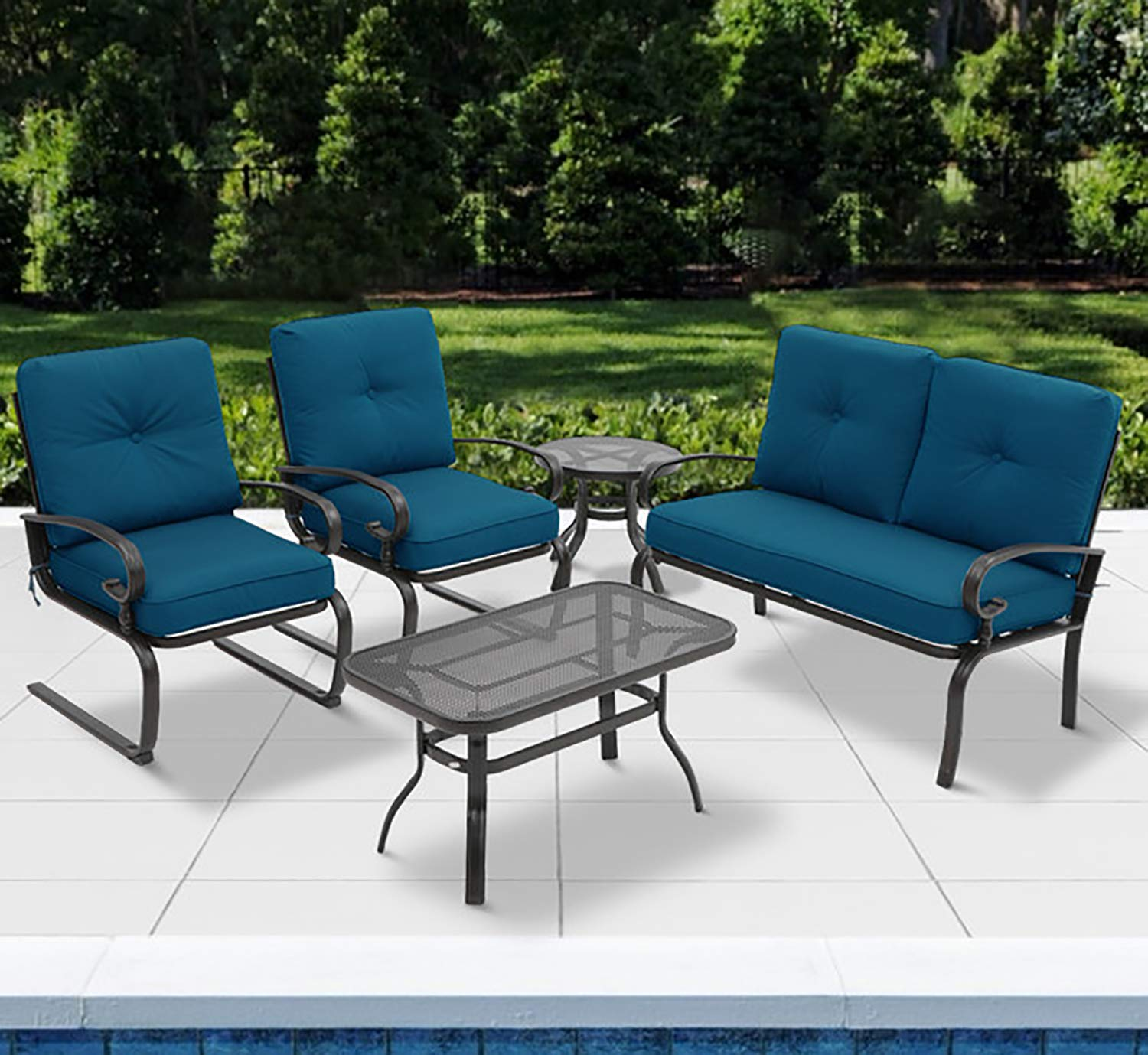 Incbruce 5Pcs Outdoor Patio Furniture Conversation Sets (Loveseat, Coffee Table and Bistro Table, 2 Spring Chair) -Wrought Iron Chair Set with Peacock Blue Cushions