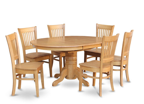 East West Furniture AVVA7-OAK-C 7-Piece Dining Table Set