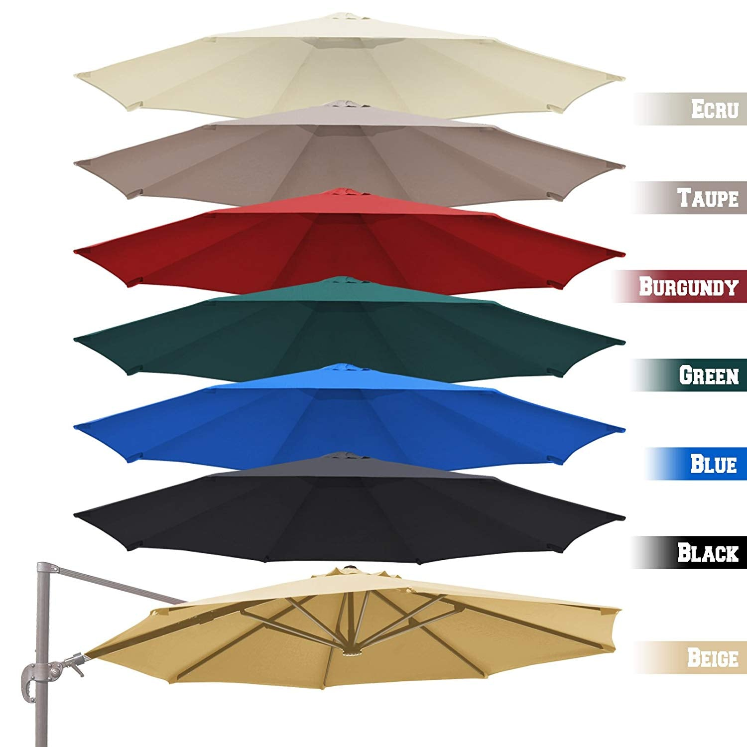 BenefitUSA Replacement Canopy Top Cover for 11.5' Rome Cantilever Patio Umbrella Outdoor Sunshade (White)