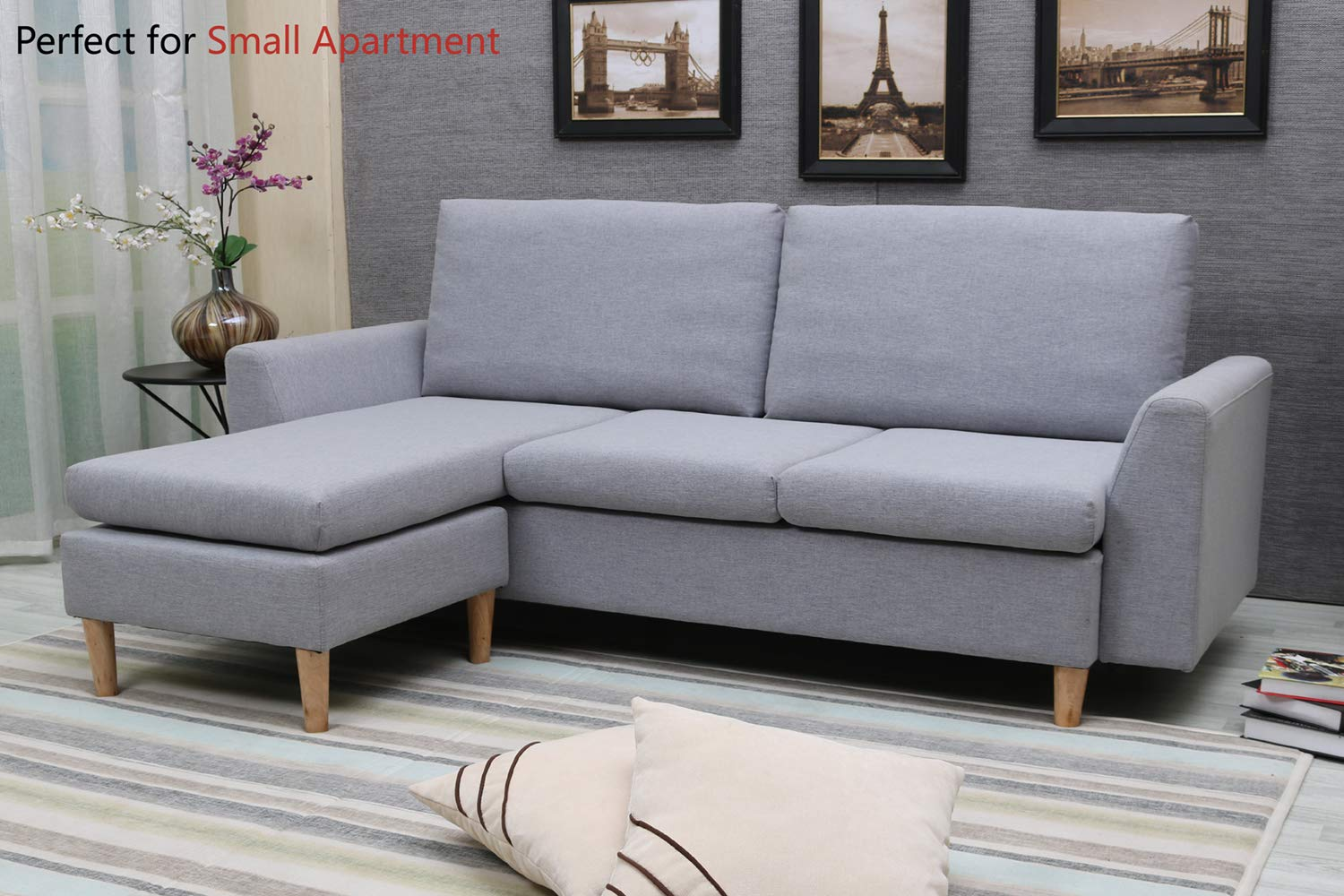 Sectional Sofa, L-Shape Sectional Couch with Reversible Chaise, Couches and Sofas with Modern Linen Fabric for Small Space (Grey)
