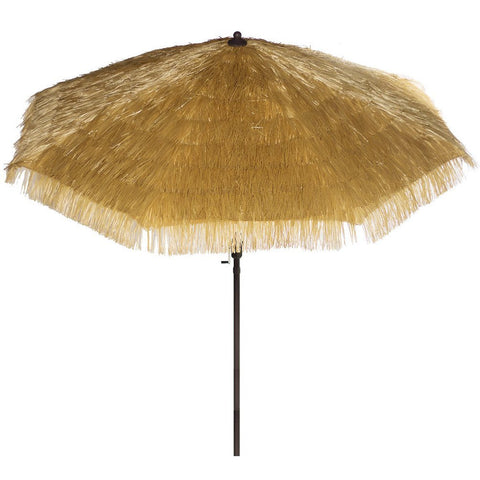 Bayside-21 9 Feet Patio Umbrella Market Outdoor Table Umbrella with Auto Tilt and Crank Tiki Umbrella 9' Cranking Lift Tiki Thatched Hula Outdoor Patio Umbrella Natural color (9ft 8 Ribs)