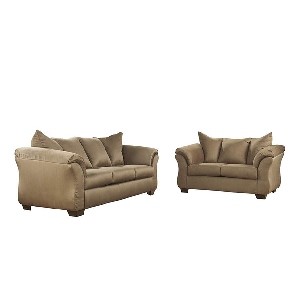 Flash Furniture Signature Design by Ashley Darcy Living Room Set in Mocha Microfiber