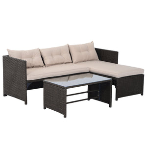 Outsunny 3 Piece Outdoor Rattan Wicker Patio Sofa and Chaise Lounge Set