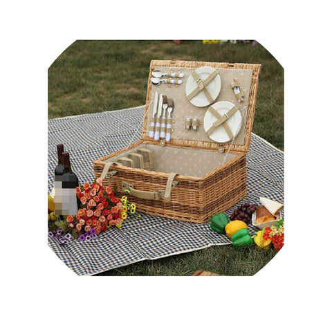 Large Wicker Picnic Basket with Table Mat for 4 People Home Storage Baskets Vintage Wicker Picnic Basket Set for Family,with Picnic Mat