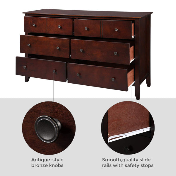 VASAGLE URCD02BR 6-Drawer Dresser, Chest of Drawers with Solid Wood Frame, Storage Unit for the Bedroom, Living Room, with Antique-Style Handles, Easy Installation, Espresso