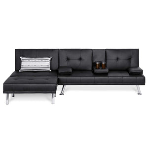 Best Choice Products Faux Leather Upholstery 3-Piece Modular Modern Living Room Sofa Sectional Furniture Set with Convertible Double Futon Bed, Single-Seat Futon, and Footstool, Reclining Backrests