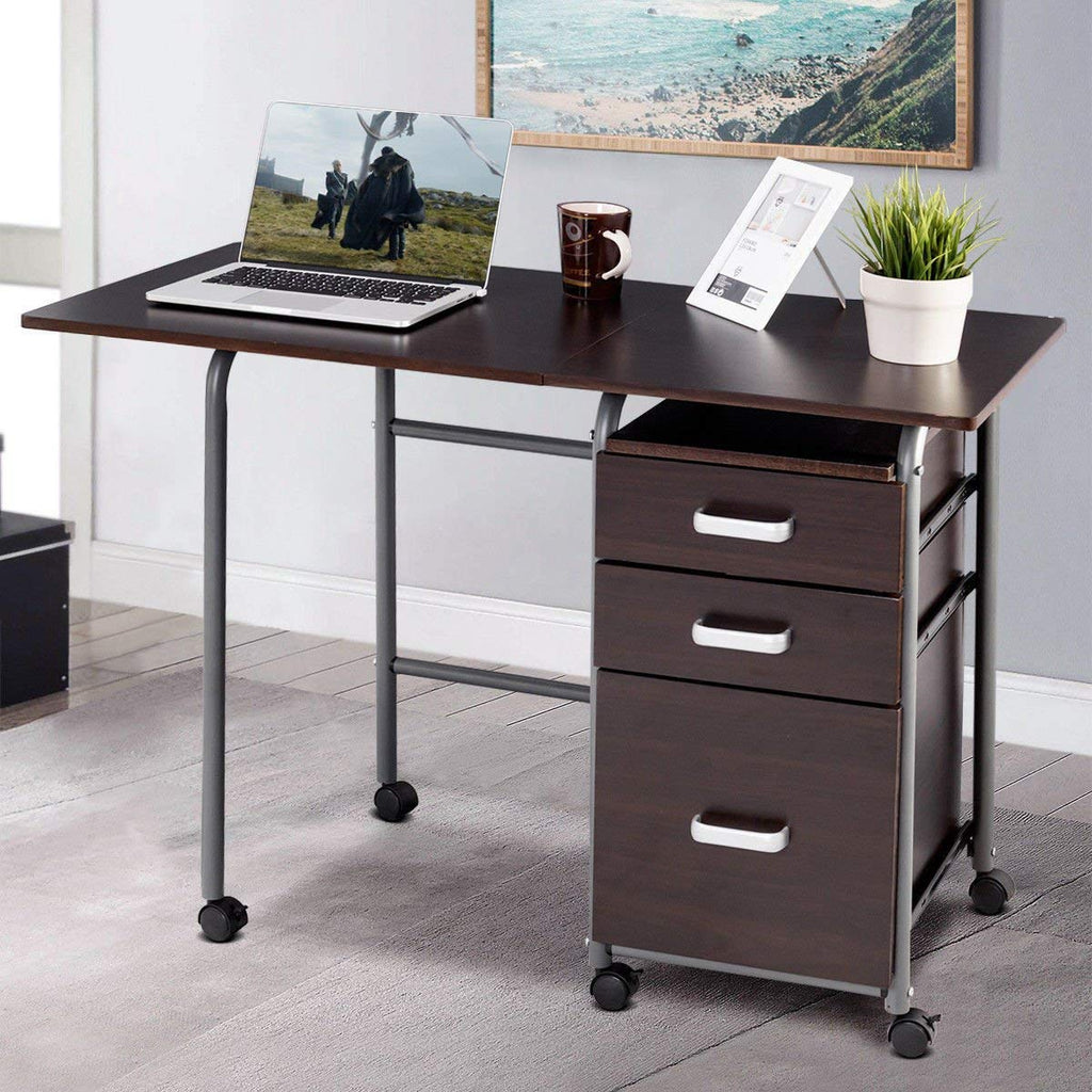 PATIOJOY Folding Computer Desk Wheeled Home Office Furniture with