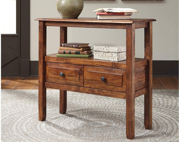 Ashley Furniture Signature Design - Abbonto Accent Table w/ 2 Drawers - Warm Brown Finish - Dark Pewter Handles