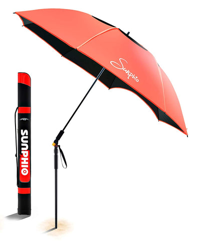 Sunphio Large Windproof Beach Umbrella, Sturdy and UV Protection, Portable Sun Shade Best for Camping, Picnic, Sand, Patio and More, 2 Metal Sand Anchor, 1 Big Carry Bag, 360 Tilt Mechanism (Blue)